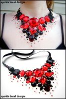 Bold Red and Black Gem Bib by Natalie526