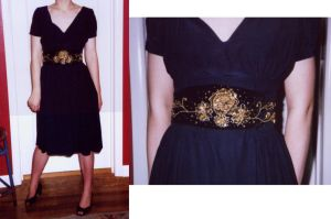 Navy Blue Silk Dress and Belt by KingNapoleon