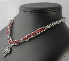 Red and Silver Dragon Necklace - nck150 by Tarliman