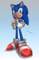 Sonic with a Ring Necklace by PiEqualsThreeOneFour
