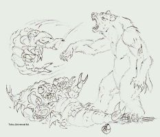 Giant bear vs. Megnulon by kaijulord21