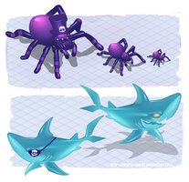 Purple shadow monster spider and sharky by Static-ghost