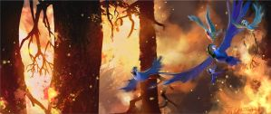 Escaping the Fire! A painting for Rio 2. by NathanFowkesArt