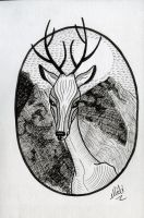 Deer with long neck by MySweetDarkness