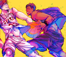 kagami and aomine by Mieoi