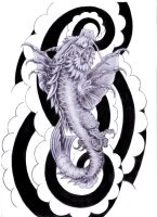 koi dragon tattoo design by tylerrthemesmer