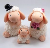 Sheep Family Wedding Cake Topper by HeartshapedCreations