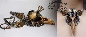 Massive raven skull necklace II by Pinkabsinthe
