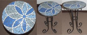 Flower wrought iron mosaic table Blue by EleonoraIlieva