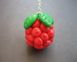 Raspberry Necklace by ClayMyDay