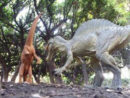 Spinosaurus attacking Sauropod by Krulos