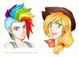 MLP Human Rainbow Dash and Applejack by LittleBreeze