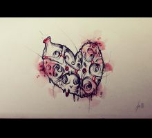 Heart tattoo blood by RemiisMeltingDots