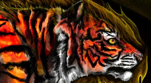 Tiger of Fire (Detail) by o0Aquamentus0o