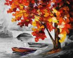 BOATS BY THE BRIDGE  Limited edition giclee by Leonidafremov