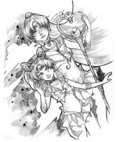 Sailor Pluto and Chibi Moon by curry23