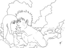 naruhina hotness springs lineart.... ^^ by FKAwesome