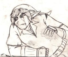 Link Injured in Battle WIP by DwDrawings