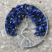Silver and Dark Blue Lapaz tree of Life pendant by craftymama