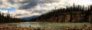 Athabasca River Pano by KRHPhotography