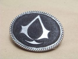 assassins creed belt buckle finished by MerrillsLeather