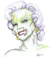 Zombie Mariyln Monroe color by ChrisOzFulton