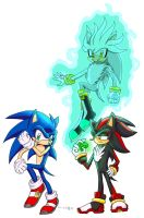 Sonic, Silver,and Shadow by winded-wolf