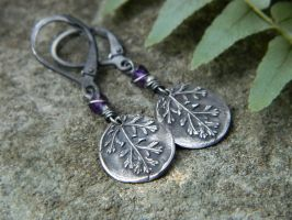 Achillea Millefolium -Yarrow- Amethyst Earrings by QuintessentialArts