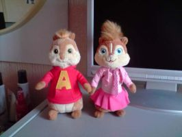 Alvin And Brittany Plushies by SkiffyKitten