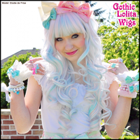 Long Curly Blend - Powder Pink + Blue by GothicLolitaWigs