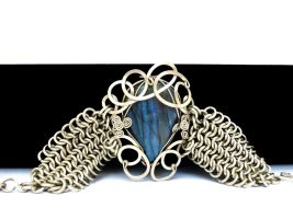 Wire Wrap Chainmaille Bracelet by hyppiechic