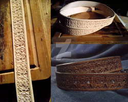 Tooled Leather Belt A001 by mcd-82