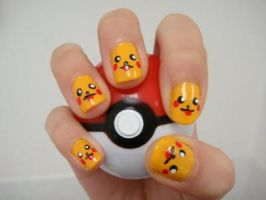 pikachu nails by cloudy-days95