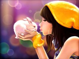 rabbit and girl by bluezjj