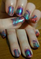 Water Marbling nails by kelles-nails
