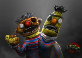 Zombie Sesame Street: Ernie and Bert Zombie by Delun