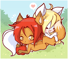 Fluffy Tail Huggles by MoogleGurl
