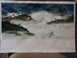 Landscape in watercolor - Phulangka, Thailand by Ao-Kitsune