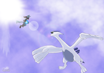 Lucario VS Lugia by Dragon-Minded