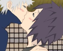 Kakashi Anko kissing by Anina-sensei