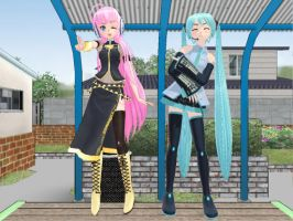 Luka and Miku posing at the park by Link-Pikachu