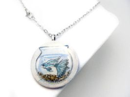 Blue Guppy - Pendant Necklace by sobeyondthis