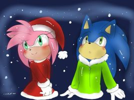 Sonamy First Snow (( By Klaudy-na )) by SonicTeam1