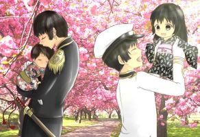 Japan and their son and daughter by ArantxaCosplayer