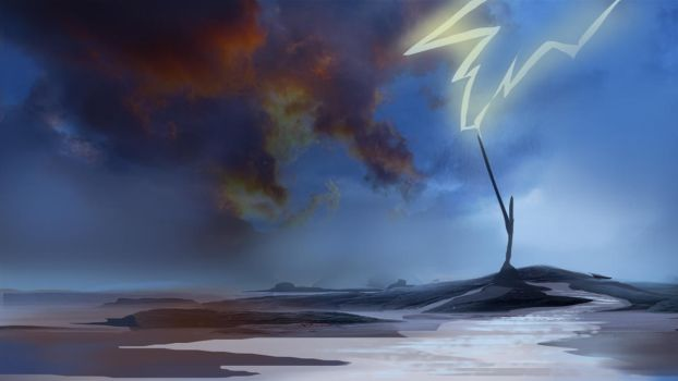 Lightning Rod Over the Sea by chuckles-the-cat