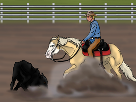 Zippa at Windfall Winter Rodeo - Cutting by angry-horse-for-life