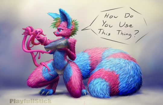 Pink And Cyan Flooff SFW(I think) by PlayfullStick