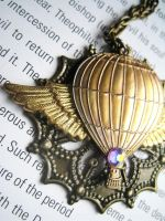 Winged Balloon Necklace by unoriginalsinner
