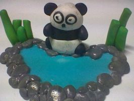 panda by the water by Joy-Pedler