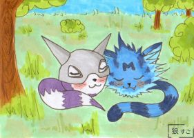 ACEO - Kapurimon and Wanyamon by Oukami-SuGo